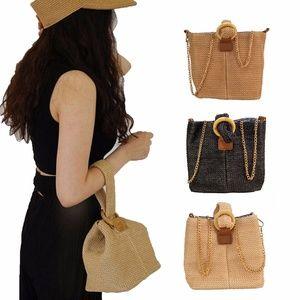 Women Straw Woven Bag Summer Boho Rattan Handbag